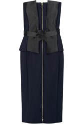 Amanda Wakeley Strapless Satin And Crepe Dress Blue