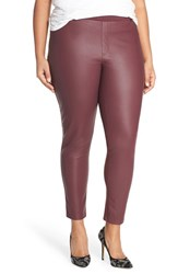 Plus Size Women's Tart 'Morgan' Faux Leather And Ponte Leggings Wine