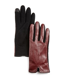 Lauren Ralph Lauren Color Stitch Gloves Oxblood Black