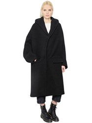 Y's Hooded Singe Breasted Wool Blend Coat