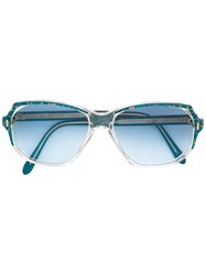 Yves Saint Laurent Vintage Printed Rectangular Frame Sunglasses Green