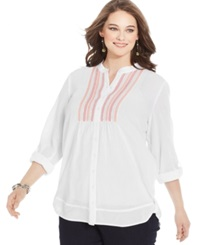 Style And Co. Plus Size Tab Sleeve Beaded Shirt Bright White