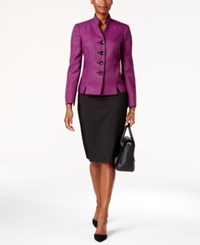 Le Suit Colorblocked Four Button Skirt Orchid Black