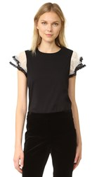 Red Valentino Ruffle Sleeve Tee Black Cream