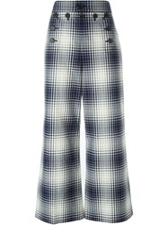 Marc Jacobs Plaid Print Trousers Blue