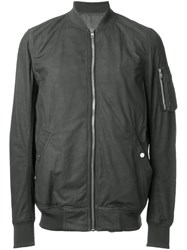Rick Owens Leather Bomber Jacket Grey