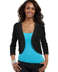 Jessica Howard Three Quarter Sleeve Open Front Cardigan Black
