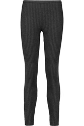 Magaschoni Ribbed Silk Blend Leggings Charcoal