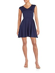 Saks Fifth Avenue Red Cap Sleeve Fit And Flare Dress Navy