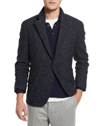 Brunello Cucinelli Boucle Two Button Sport Coat Navy