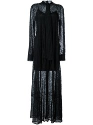 Mcq By Alexander Mcqueen Leaf Lace Maxi Dress Black