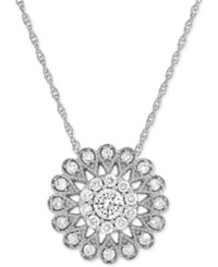 Macy's Diamond Flower Pendant Necklace 1 2 Ct. T.W. In 14K White Gold
