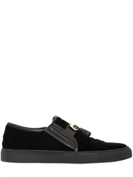Balmain Velvet Slip On Sneakers With Tassels