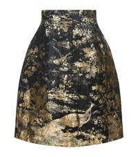 Oscar De La Renta Metallic Jacquard A Line Skirt Female Gold