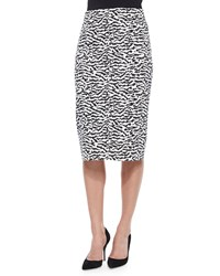 Veronica Beard Animal Print Pique Pencil Skirt Tiger Print