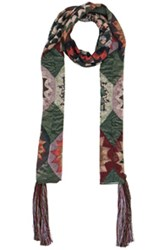 Chloe Rosace Patchwork Scarf In Green Geometric Print Green Geometric Print