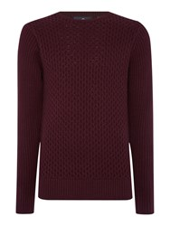 Duck And Cover Clinton Crew Neck Cable Knitwear Dark Red