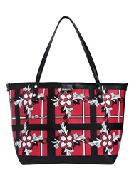 Dsquared Floral Printed Coated Canvas Tote Bag Red Black