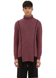 Yang Li Oversized Serged Stitch Roll Neck Sweater Purple