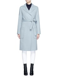 Helmut Lang Double Face Wool Cashmere Belted Coat Blue