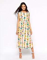 Jovonna Maxi Dress In Stripe And Floral Print Floral