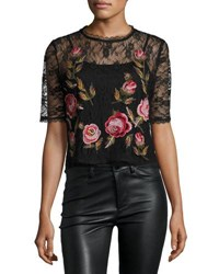 Romeo And Juliet Couture Short Sleeve Embroidered Lace Top Black