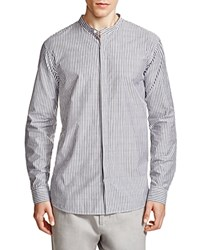 Vince Banded Collar Striped Slim Fit Button Down Shirt Black White