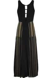 Zeus Dione Gaia Cord Trimmed Silk Chiffon Maxi Dress Black