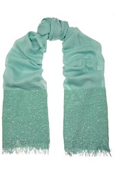 Valentino Sequin Embellished Knit Shawl Green