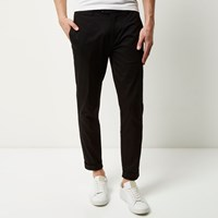 River Island Mens Black Cropped Skinny Trousers
