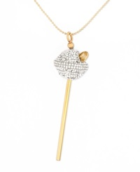 Sis By Simone I Smith 18K Gold Over Sterling Silver Necklace White Crystal Lollipop Pendant
