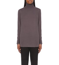 Damir Doma Turtleneck Cotton Jersey Top Grey