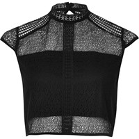 River Island Womens Black Lace Panel High Neck Crop Top