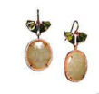 Nak Armstrong Recycled 18K Rose Gold And Recycled 18K Yellow Gold Earrings Withone Of A Kind Sapphire Green Blue Tourmaline And White Diamond