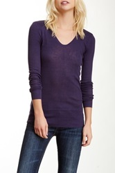 Inhabit Long Sleeve Silk Blend Tee Purple
