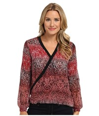 Kut From The Kloth Elise L S Banded Neck Sweater Red Brown Women's Sweater