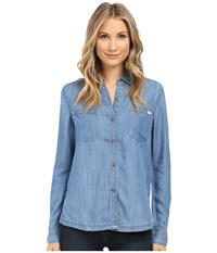 Rvca Trader 2 Top Chambray 2 Women's Long Sleeve Button Up Blue