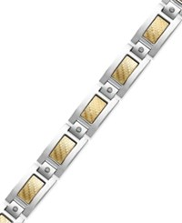 Macy's Men's Inlay Diamond Bracelet In Stainless Steel And 18K Gold 1 5 Ct. T.W.