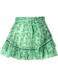 Poupette St Barth Belted Tiered Mini Skirt Green