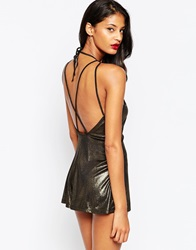 Asos Lurex Playsuit With Sexy Strappy Back Gold
