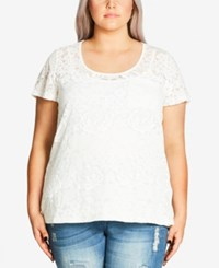 City Chic Plus Size Short Sleeve Burnout Top Ivory