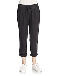 Michael Stars Linen Drawstring Ankle Pants Black