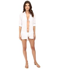 Tommy Bahama Cut Outs Boyfriend Shirt Cover Up White Women's Swimwear