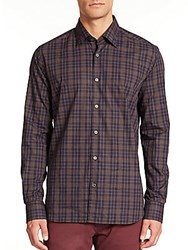 Saks Fifth Avenue Multicolor Check Sportshirt Brown
