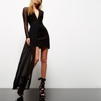 River Island Womens Black Mesh Hem Plunge Dress