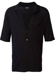 Ports 1961 Deep V Neck Polo Shirt Black