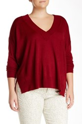 14Th And Union Deep V Pullover Plus Size Red