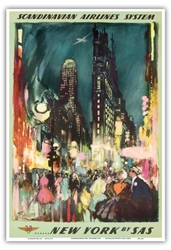 Amazon.Com New York By Sas Scandinavian Airlines System New York City Times Square Vintage Airline Travel Poster By Otto Nielsen 1952 Master Art Print 12In X 18In Artwork