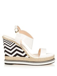 Nicholas Kirkwood Leda Patent Leather And Espadrille Wedge Sandals White Black