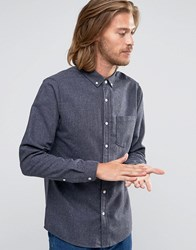 Asos Long Sleeve Neppy Wool Mix Shirt In Grey In Regular Fit Grey
